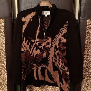 St John Knit Cardigan Metallic Leopard Print EUC!